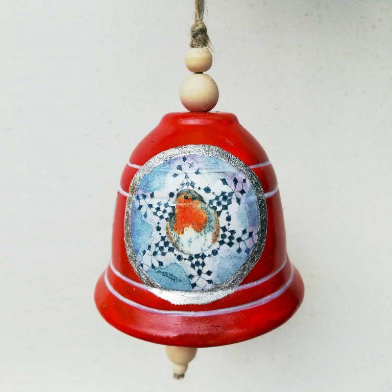 Campana di Natale ornamentale decorata a mano